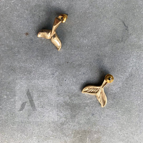 Gold Toned Whale Tail Stud Earrings