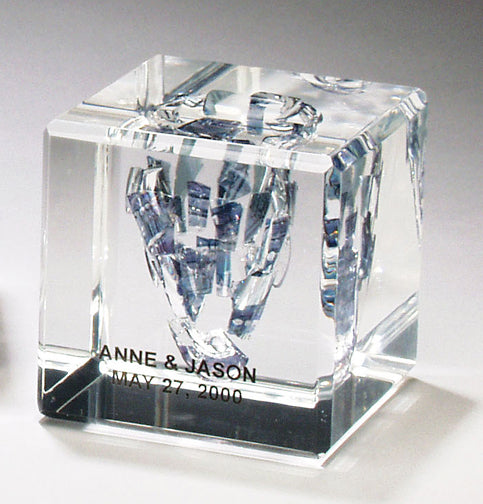 Lucite Cube with Wedding Glass