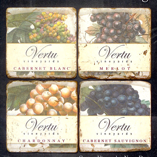 Personalized Vineyard Coasters with Stand