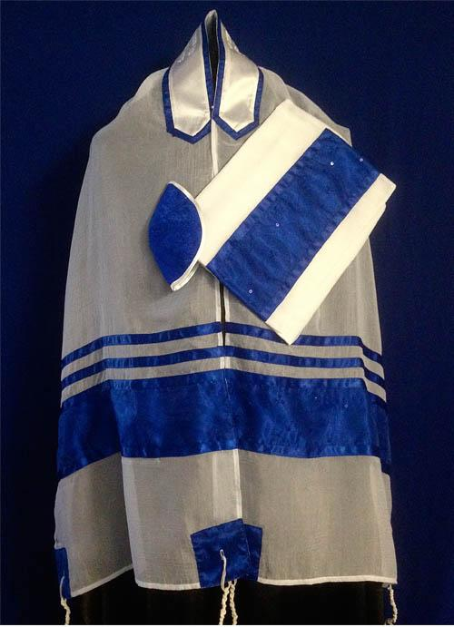 Royal Blue And Chiffon Tallit