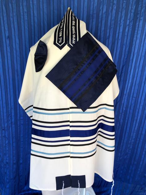 Multi Blue Striped Tallit Set