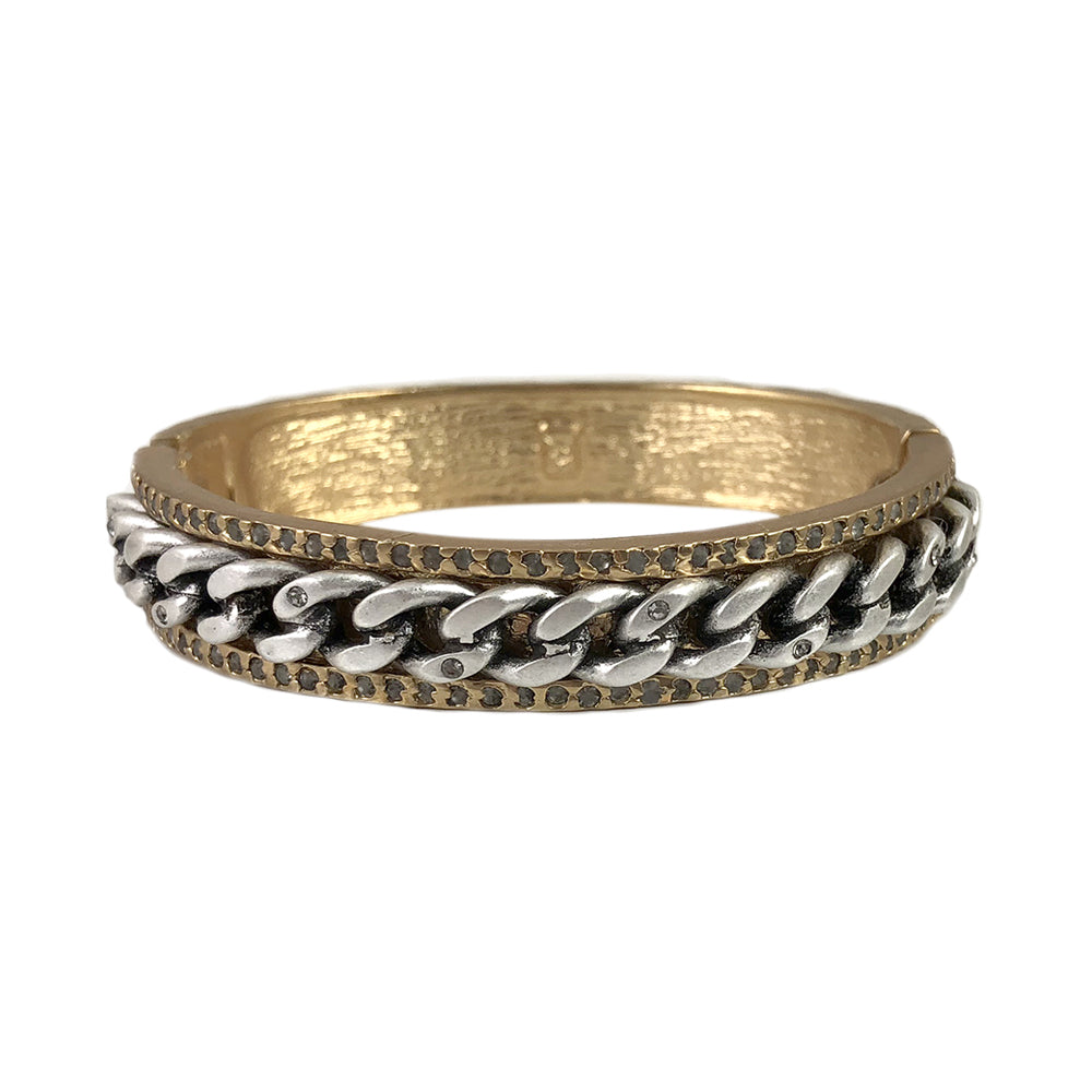 Gold Mali Chain & Crystal Bangle