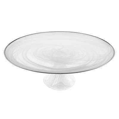 White Alabaster Glass Cake Plate