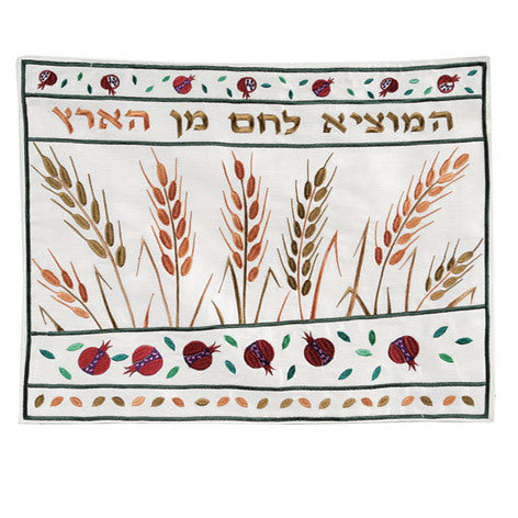 Dark Wheat Embrodered Challah Cover