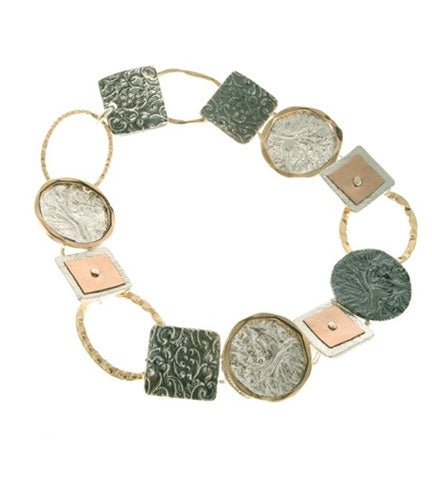 Multi-Shape Tri-Metal Bracelet