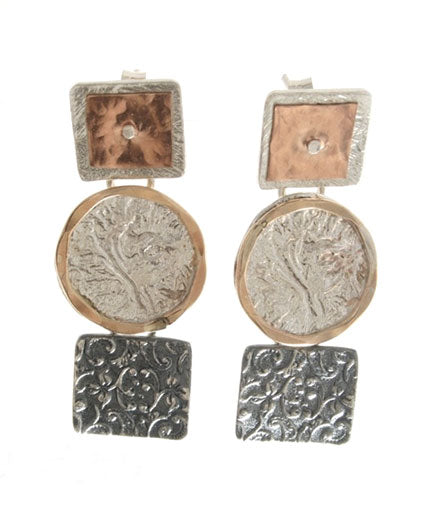 Dganit Hen Three-Disc Mixed Metal Earrings