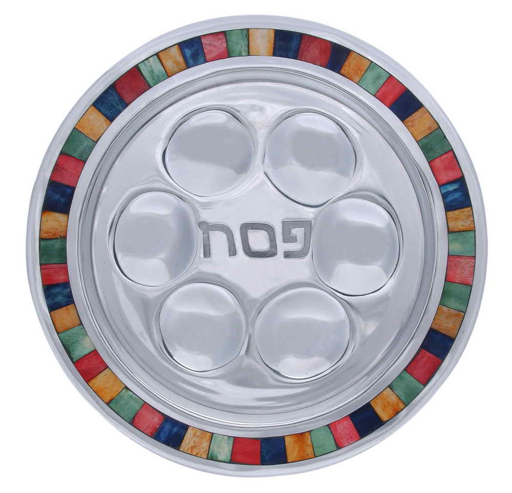 Cast Aluminum And Inlay Seder Plate