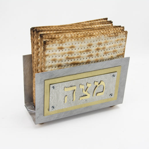 Pewter and Brass Upright Matzah Holder
