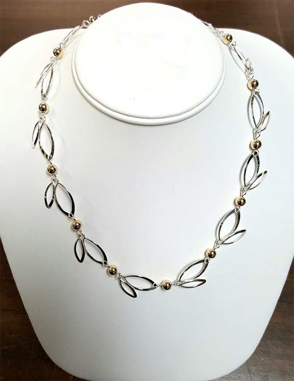Sterling Silver Open Leaves Necklace