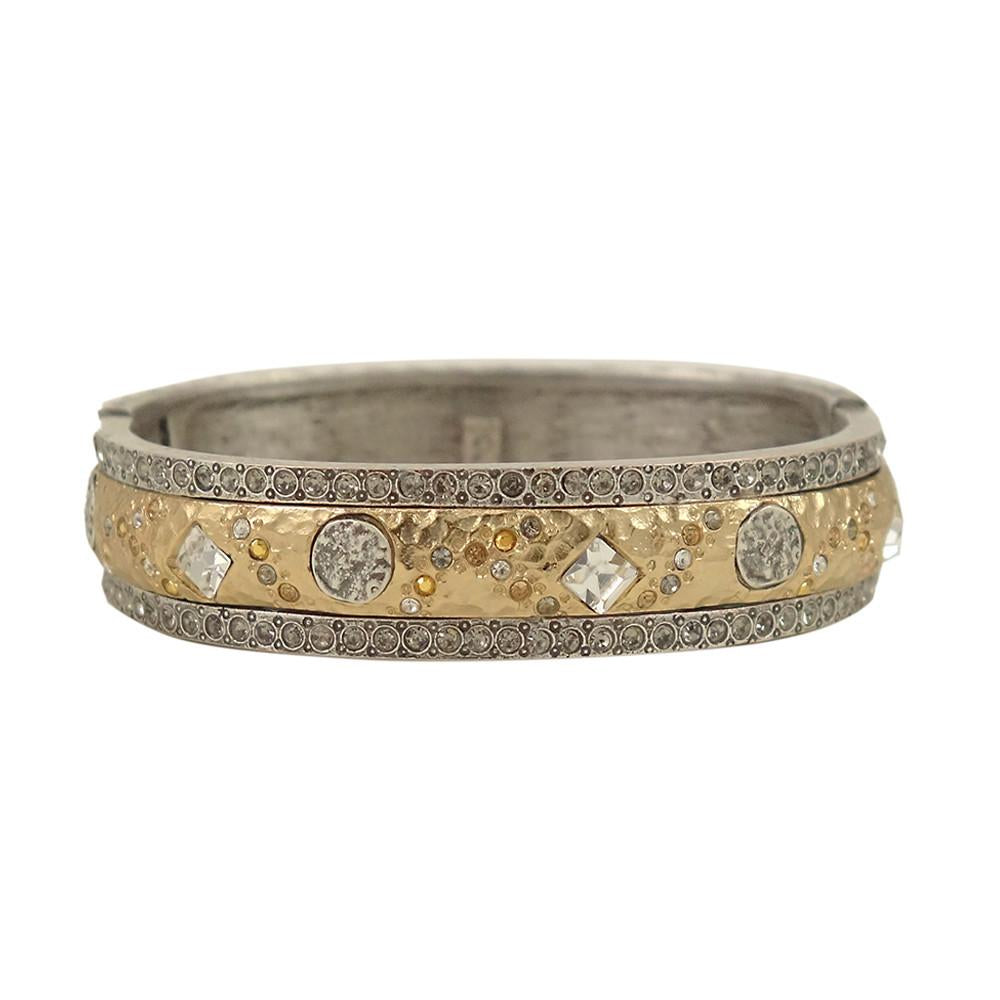 Silver Skhirat Bangle with Gold Insert