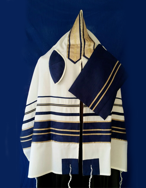 Navy And Gold Tallit Set