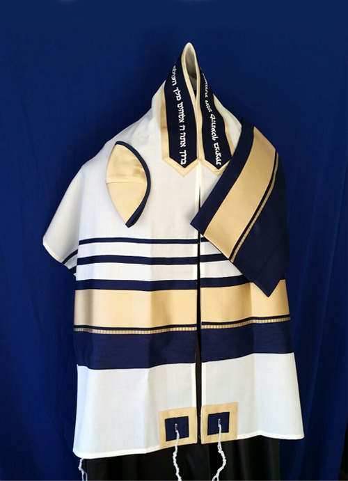 Navy And Gold Band Tallit Set