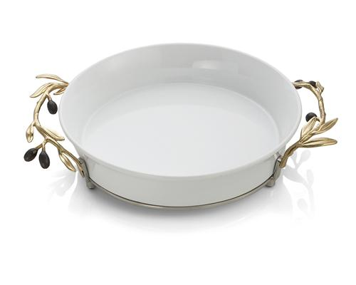 Olive Branch Gold Pie Dish