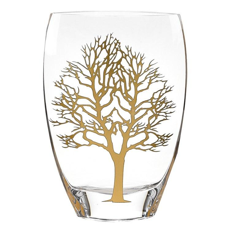 Gold Tree of Life Mouth-Blown Glass Vase