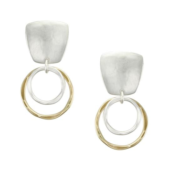 Marjorie Baer Tapered Square+Two-tiered Rings Earrings