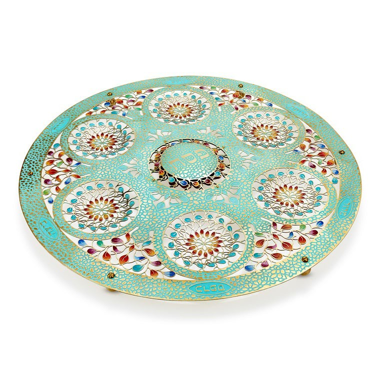 Hand-wrought Patina Seder Plate