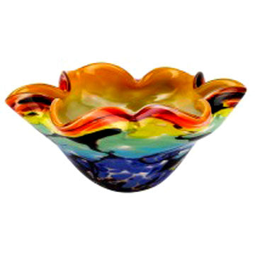 Multi-color blown glass fluted bowl