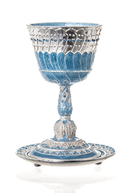 Blue Enamel Kiddush Cup And Tray