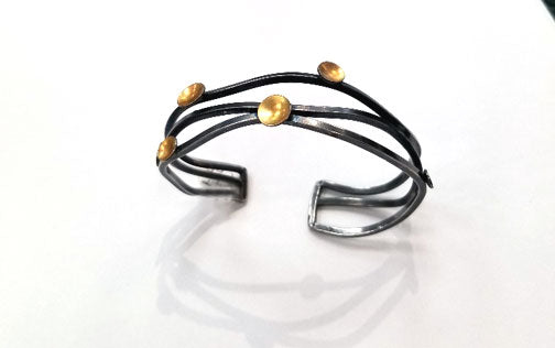 Oxidized Open Wavy Cuff with Vermeil Discs