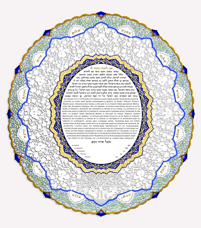 Oval Green Lace Ketubah