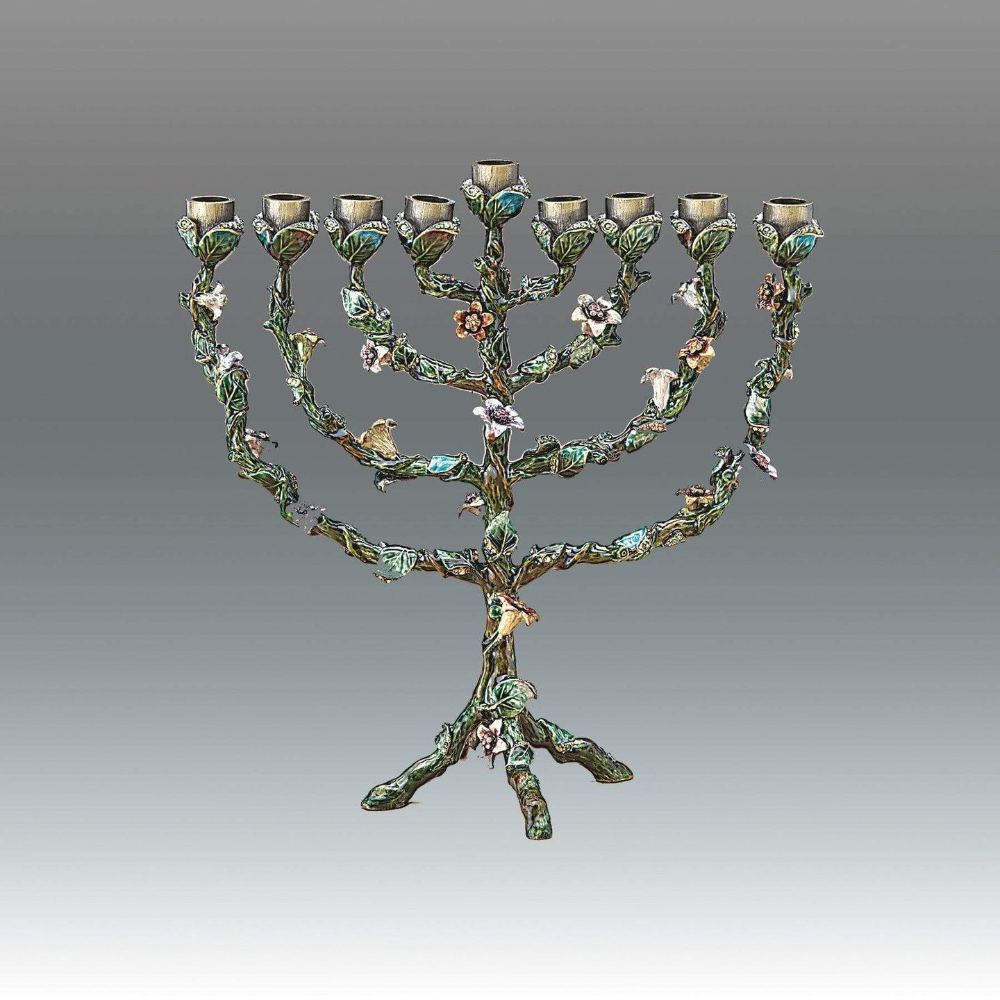 Enameled Flower Menorah