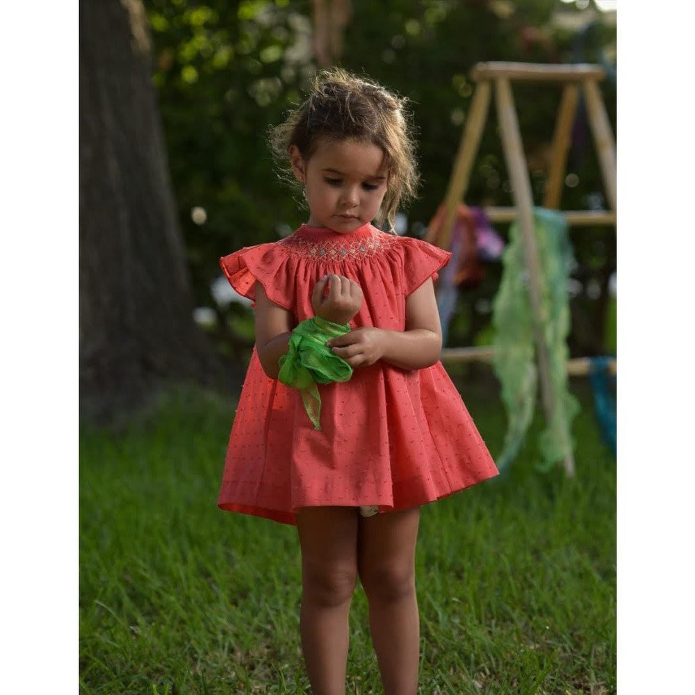 Coral Smocked Dress