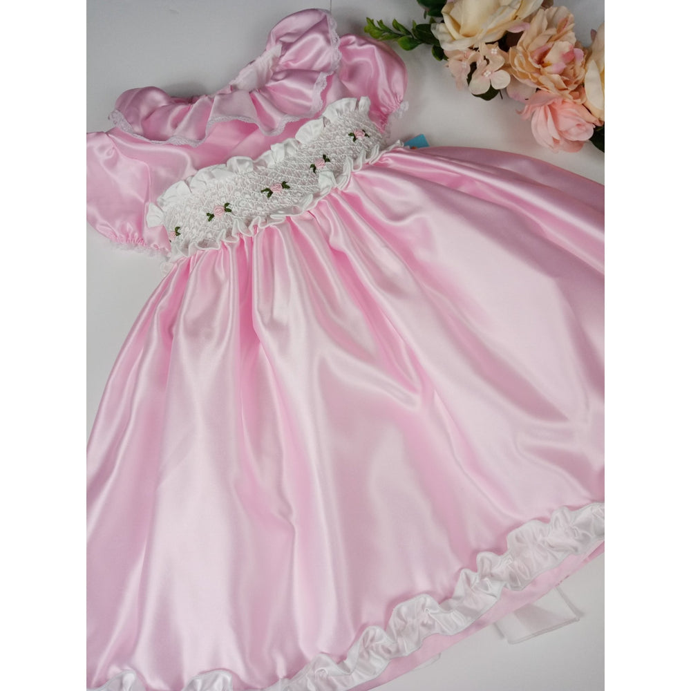 Satin Rose Smocked Dress - Lala Kids