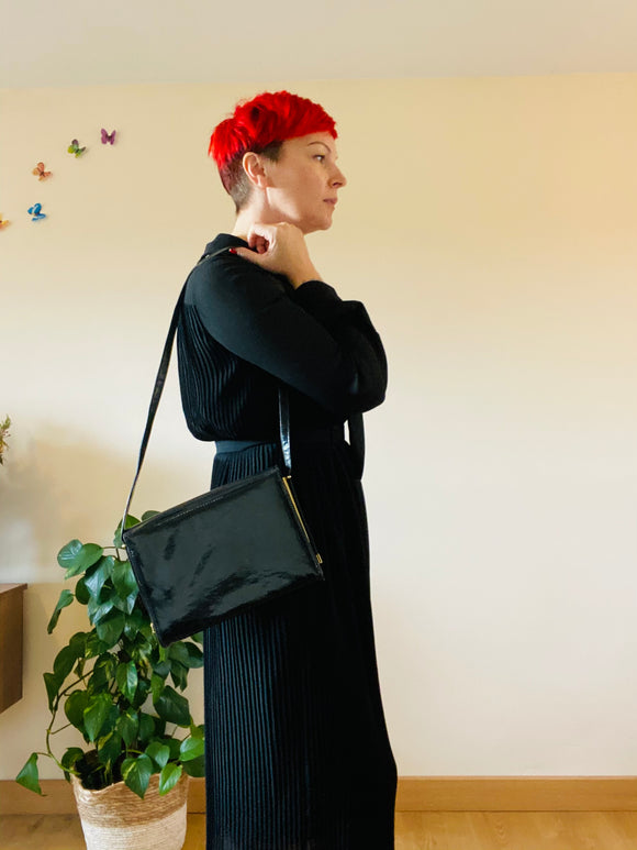 80's black patent envelope bag