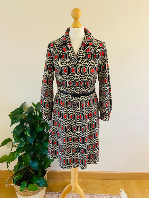 70's Monochrome Print Dress With Dagger Collar