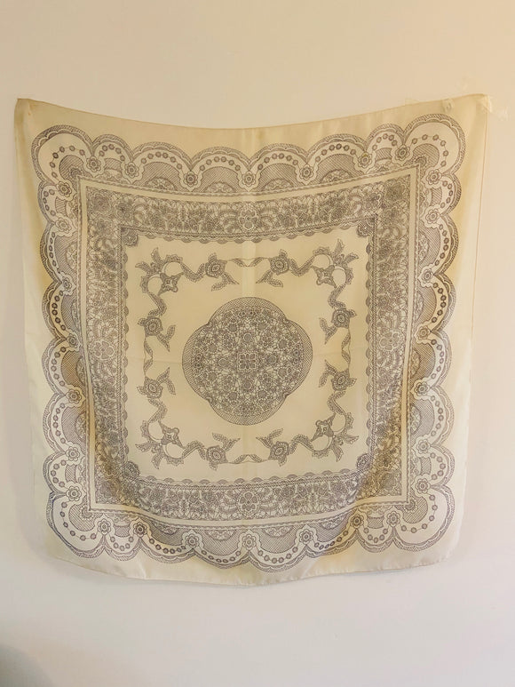 Large cream printed scarf