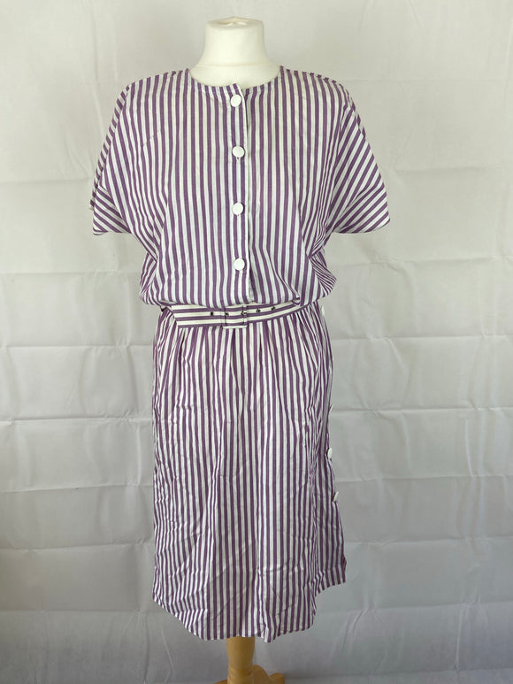 Ladies Vintage 80's Dress with Lilac Candy Stripe Design