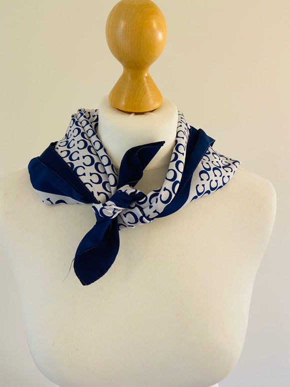 Vintage Blue and White Printed Scarf