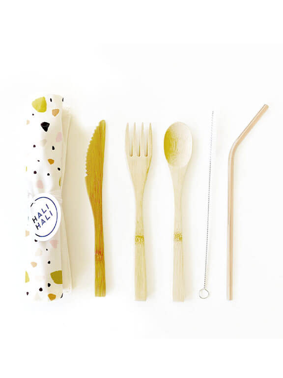 Hali Hali Eco Friendly 6 pc Reusable Cutlery Set - Small Terrazzo