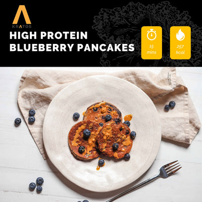 HIGH PROTEIN BLUEBERRY PANCAKES
