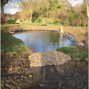 Pond before coir mats