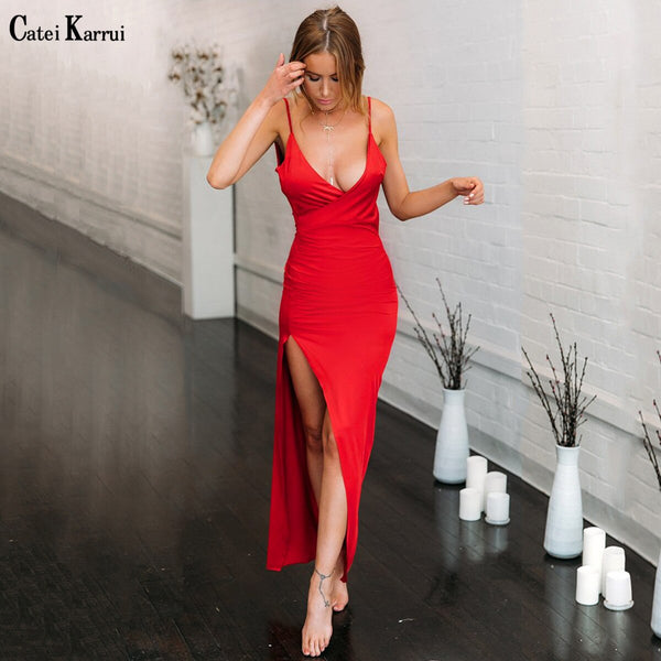 Catei Karrui 2020 new women's dress V-neck sexy slim fit open back split suspender skirt sleeveless women's party dress