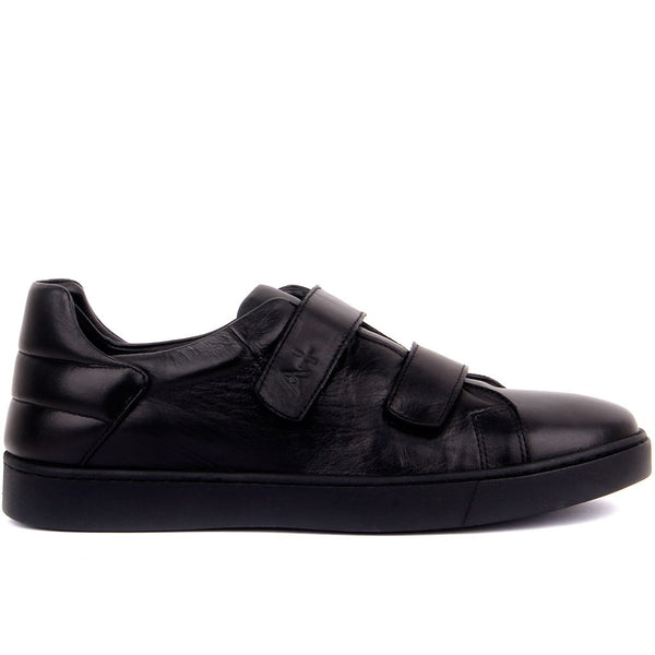 Sail-Lakers Black Leather Velcro Men Sneakers Daily Casual Shoes