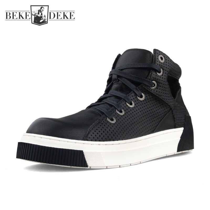 Summer Mens High Top Sneakers Round Toe Hollow Out Breathable Platform Genuine Leather Shoes Casual Flat Designer Shoes Male
