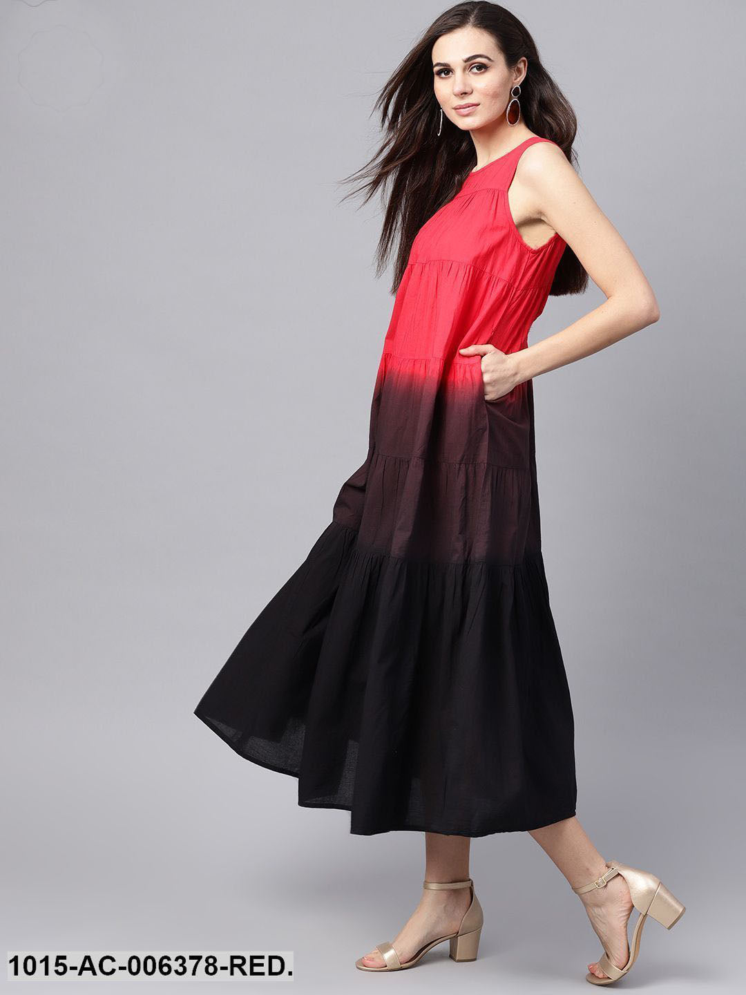 Red & Black Ombre Tiered Maxi