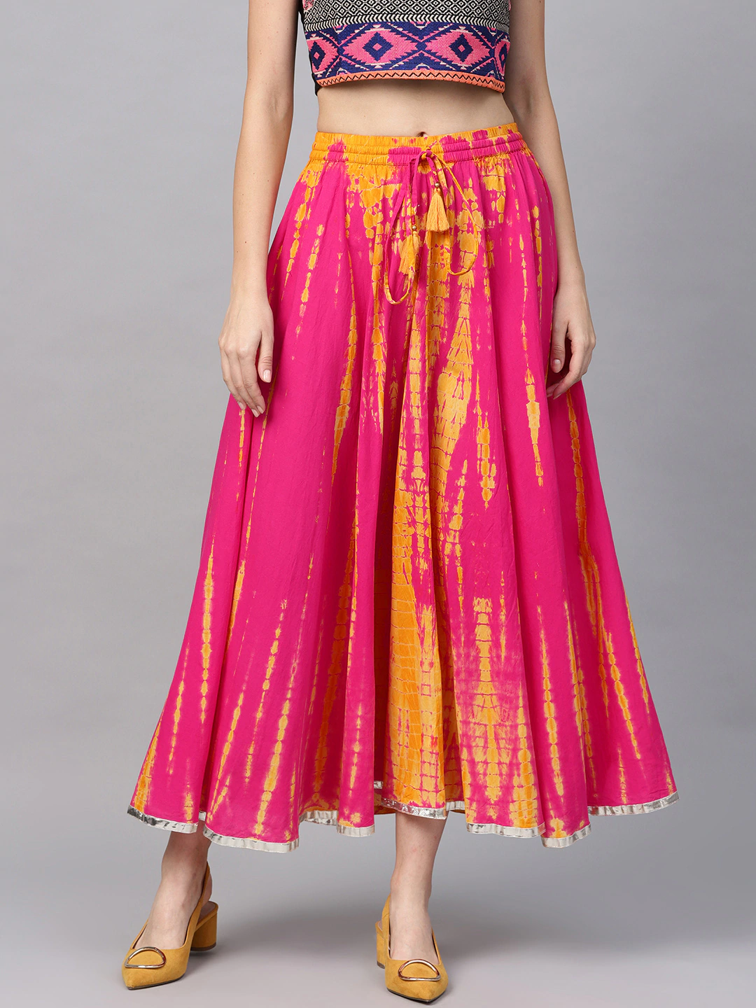 Pink and Yellow Dyed Maxi Flared Skirt