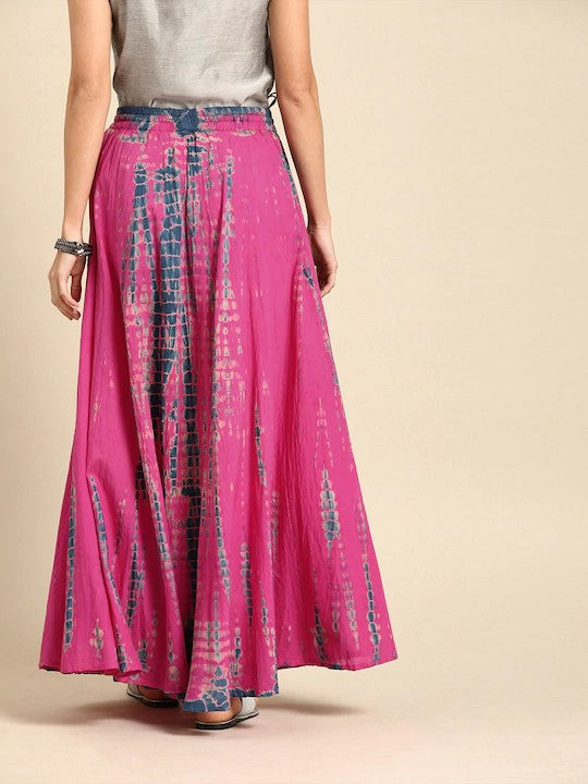 Pink and Blue Dyed Maxi Flared Skirt