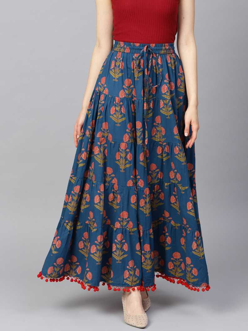 Floral Print Flared Blue Skirt