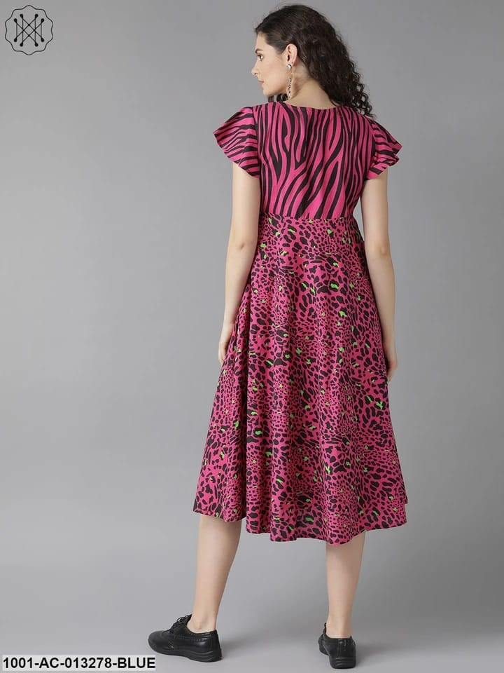 Pink & Black Animal Printed Fit And Flare Dress