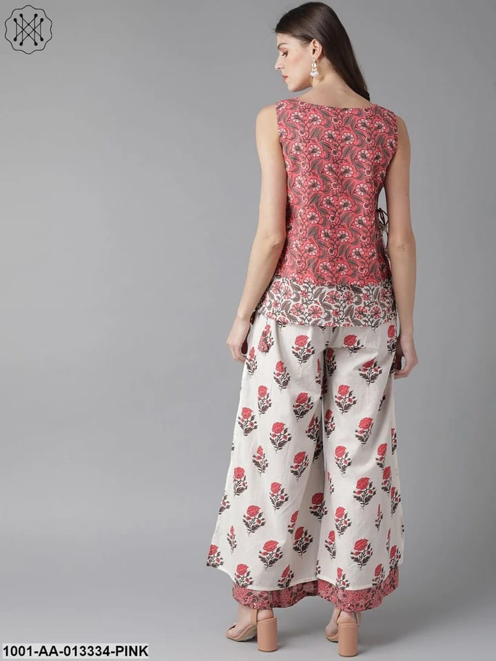 Pink & White Printed Top with Palazzos