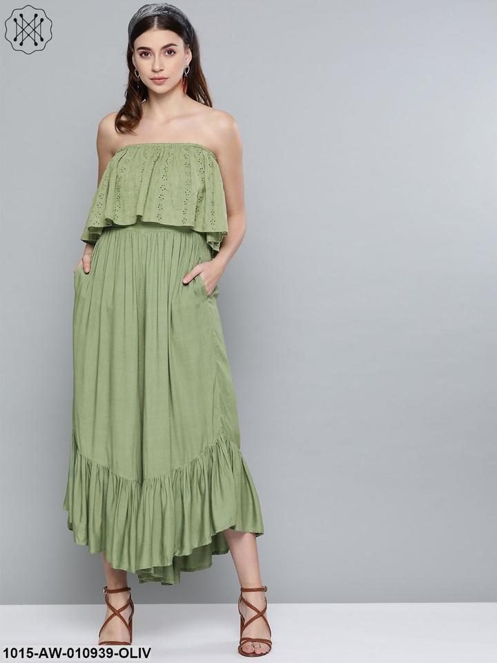 Olive  Cotton Schiffli Off Shoulder Jumpsuit