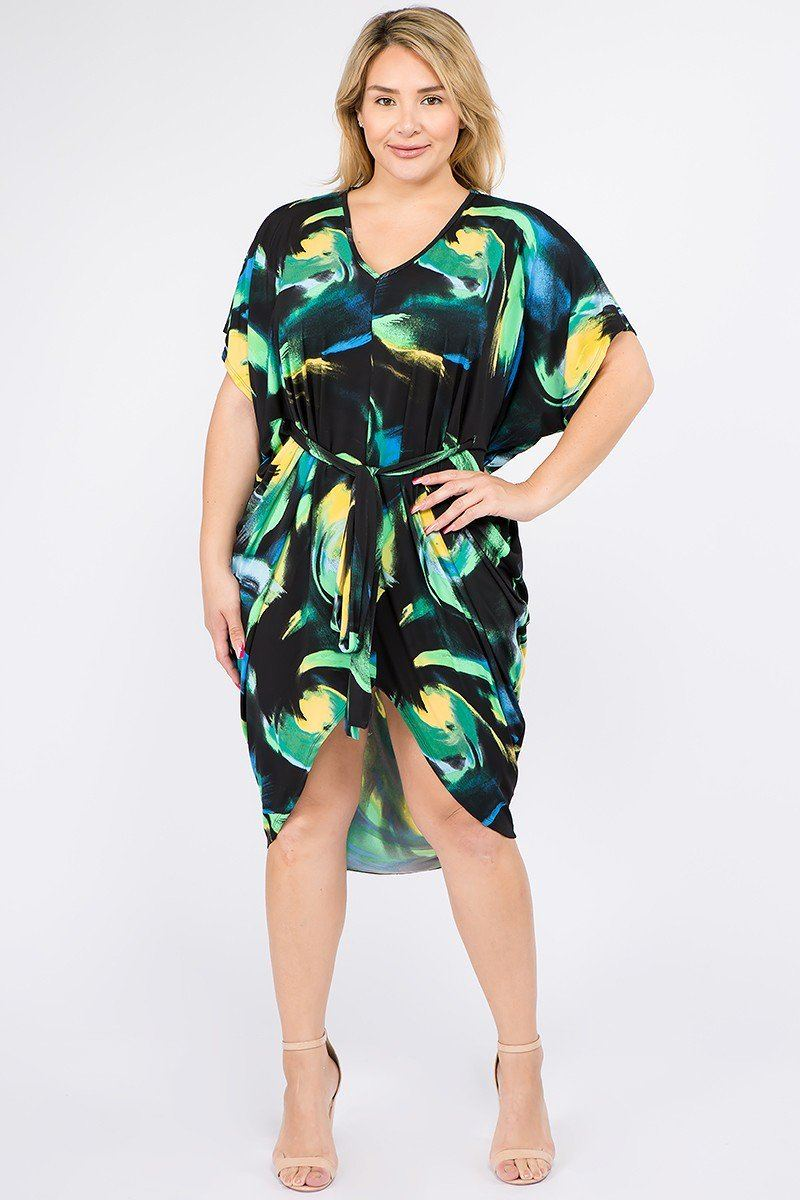 Multi Color Print Short Sleeve Kimono Dress With Waist Tie