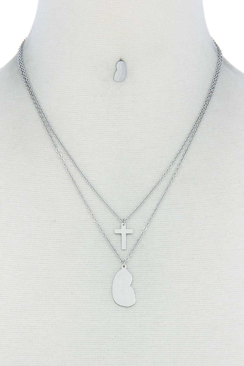 Stylish Double Layer Cross And Mary Necklace And Earring Set