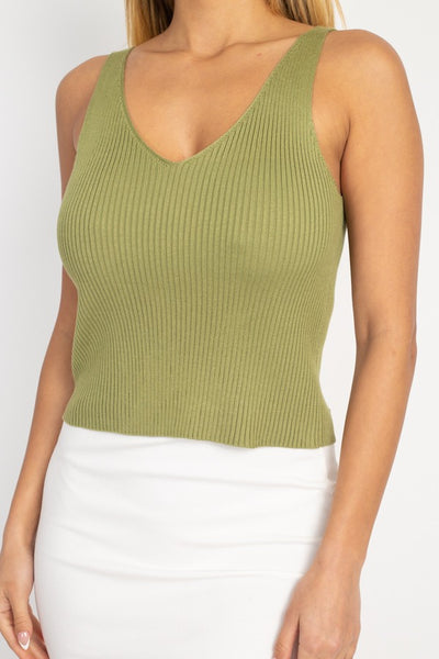 V Cut Sweater-knit Tank Top