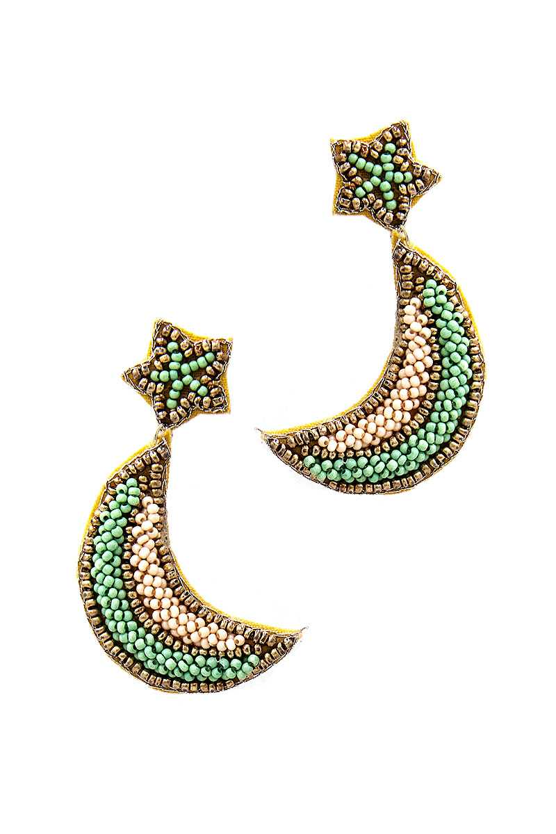 Trendy Beaded Star And Moon Earring