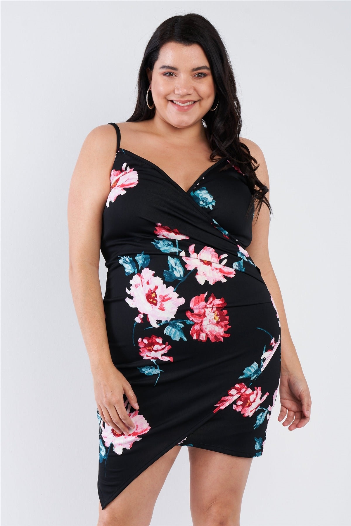 Plus Size Floral Print V-neck Cinched Size Chic Mini Dress